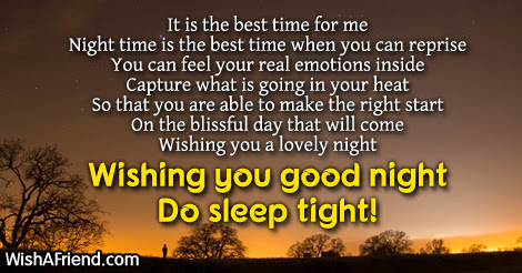 It Is The Best Time For Me Good Night Poem