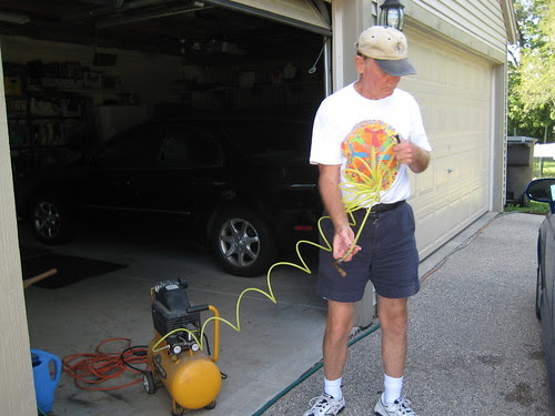 dad pumping up my tires