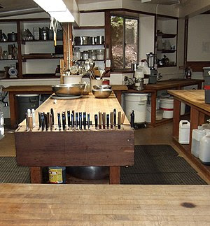 Kitchen cabinets in a farmhouse.