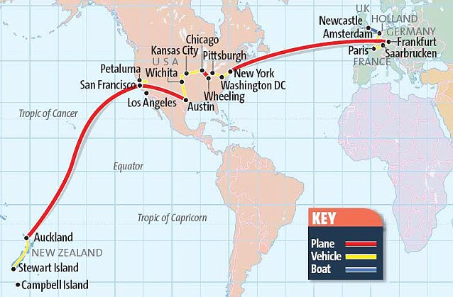 World traveller: Paul's erratic route from Gateshead to New   Zealand