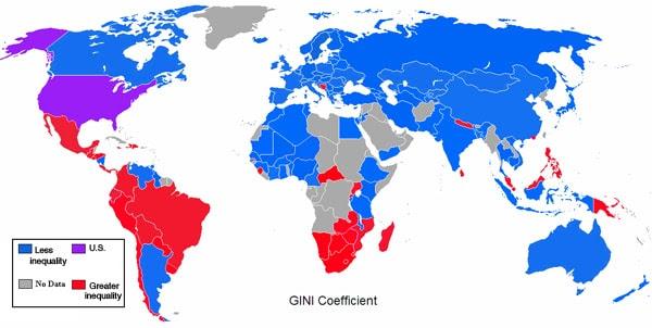 Clique para ampliar.  Países azuis são mais iguais do que os EUA, os países vermelhos são mais desigual.  (Max Fisher)