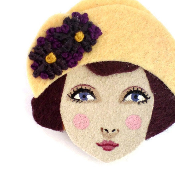 Felt brooch - Louise, Art Deco Flapper, cream yellow, burgundy, Autumn,woman face