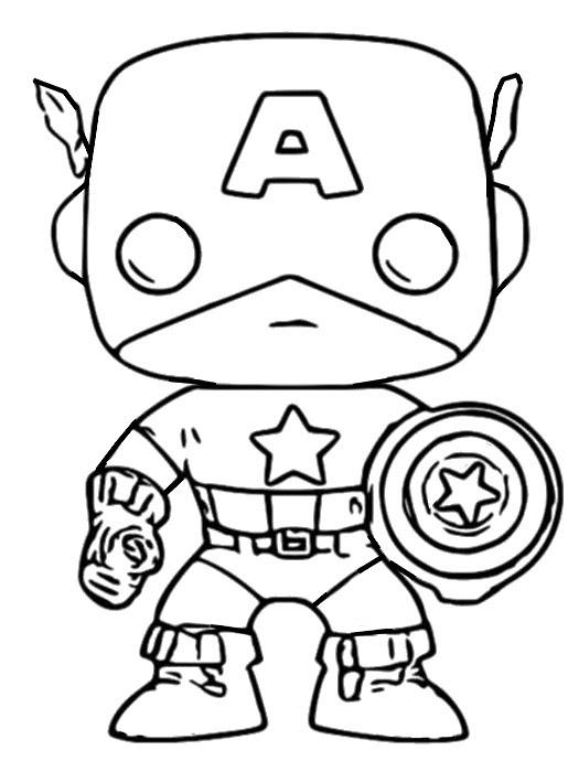Dibujo Para Colorear Funko Pop Marvel Captain America 6
