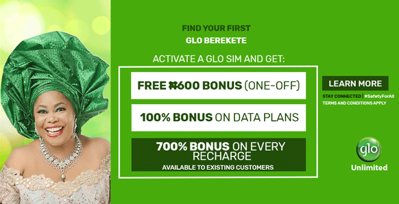 Glo Berekete Plan How to Get 700% Airtime bonus, 5GB Free Data