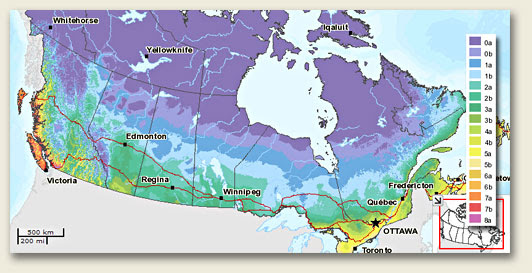 Canadian plant hardiness zones map