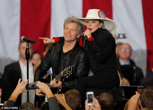 Gaga then joined Bon Jovi on his hit, 'Livin' on a Prayer,' taking the high part in an acoustic duet