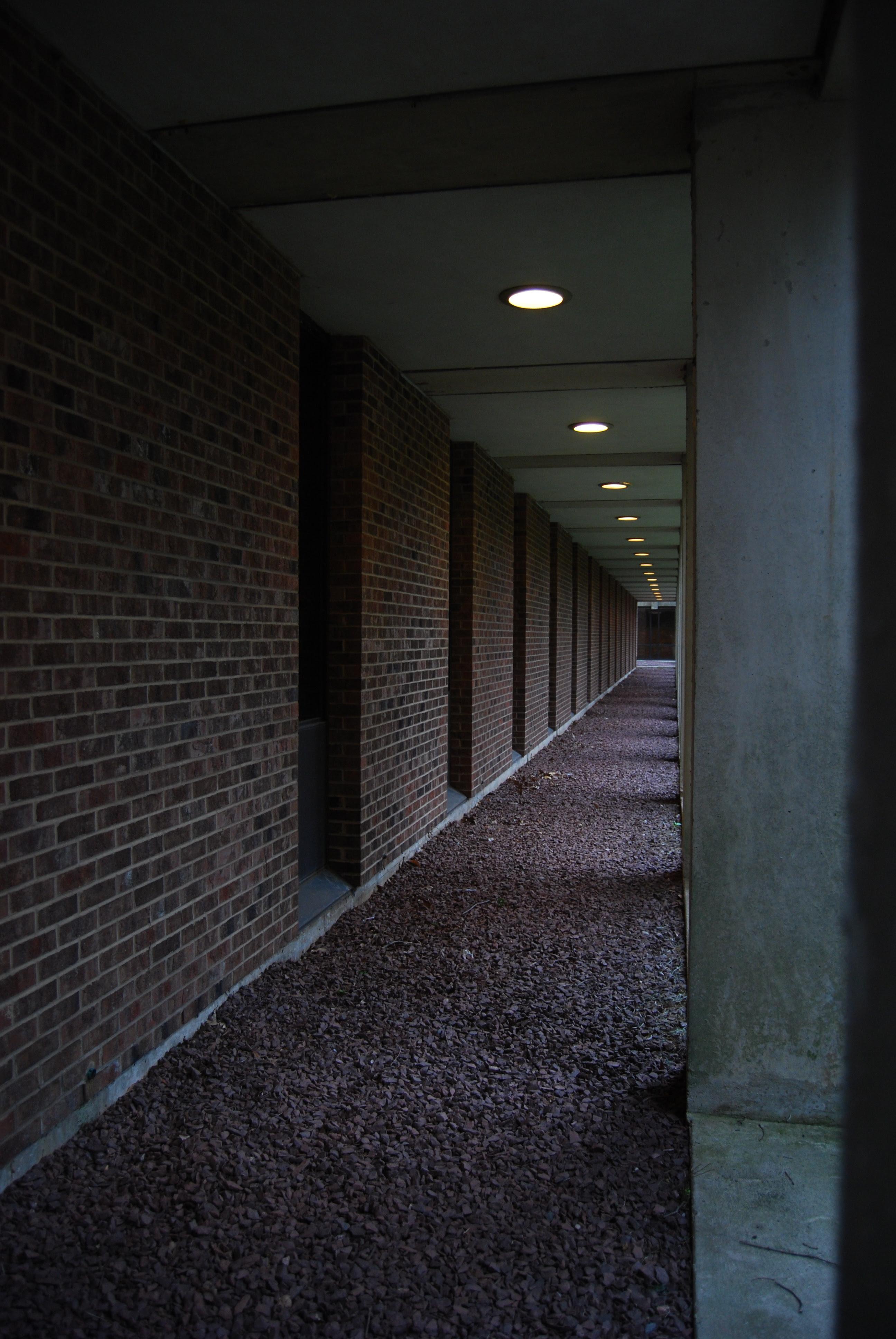 Dark outdoor corridor