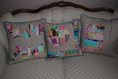 Trio of patchwork cushions from scraps
