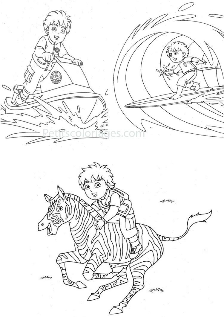 Petits coloriages Diego surf jet ski z¨bre