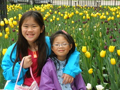 Girls by Tulips