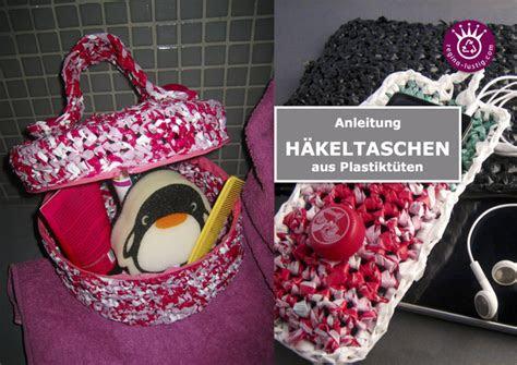 taschen und taeschchen aus plastiktueten gehaekelt upcycling