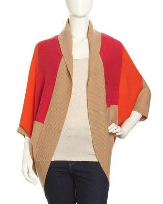 Neiman Marcus Cashmere Colorblock Circular Cardigan