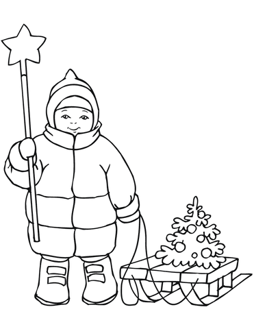 cute boy with christmas star and sled coloring page  free printable coloring pages