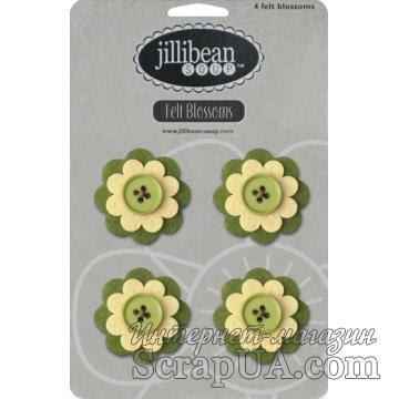Набор цветов из фетра Jillibean Soup - Felt Blossoms - Green - ScrapUA.com