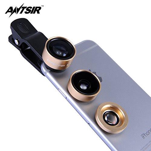 ANTSIR カメラレンズキット 改良版 3in1 クリップ式 3点セット(魚眼、マクロ、広角レンズ) 自撮り スマートフォン タブレット 各種スマートフォン対応 装着便利 クリップ式 外付けレンズ カメラレンズキット スマホ カメラ レンズ キット 簡単 (ゴールド)