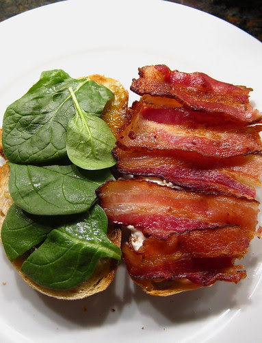 Add the bacon & spinach