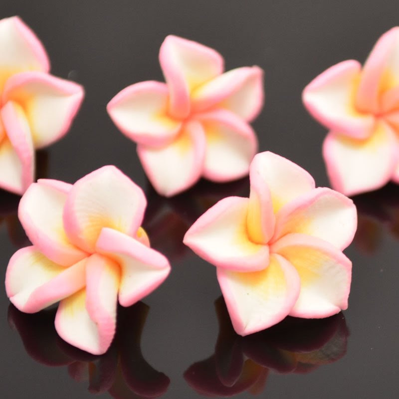 s37388 Polymer Clay - 15 mm Plumeria Flower - Angels are Making Cupcakes (1)