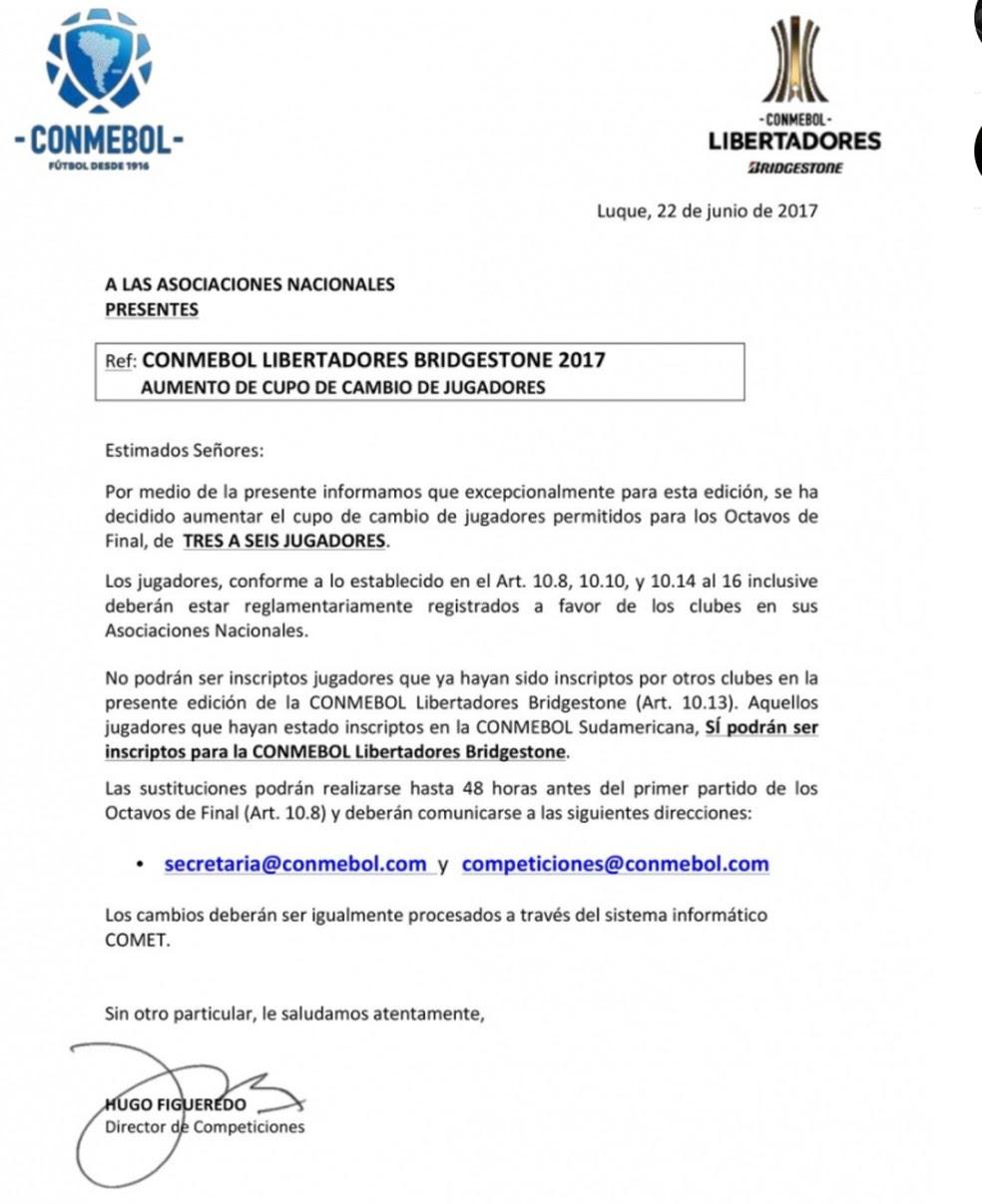 Comunicado da Conmebol anunciando mudanças no regulamento de inscrição de atletas (Foto: Reprodução)