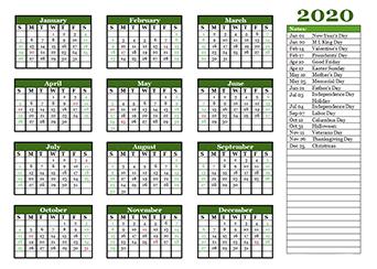2020 Calendar Template Word Canada