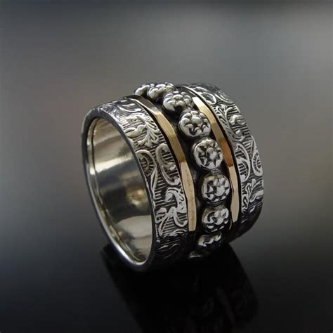 Floral Wide Silver Gold Band, Sterling Silver And Gold