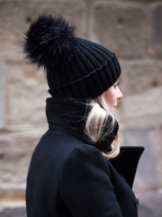 Le Fashion Blog Winter Style Black Fur Pom Pom Beanie Black Wool Coat Via In My Ballerines