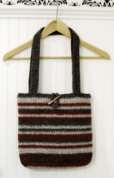 striped felted bag