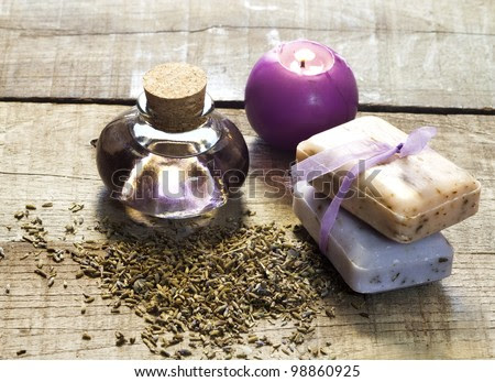 Lavender Essential Oil And Dried Flowers With Candle And Soap ...