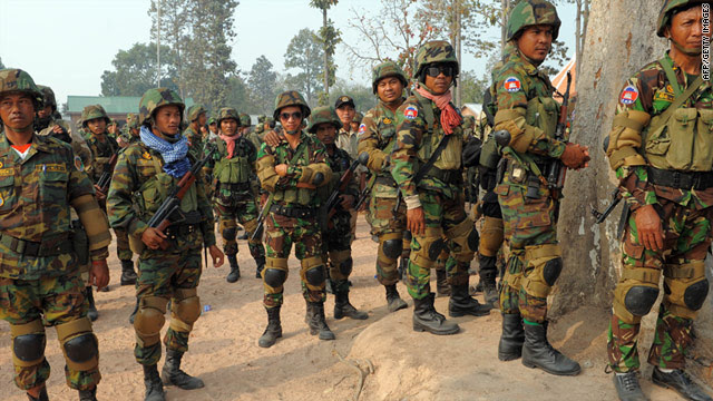 Cambodian soldiers deployed at a military base near the 11th-century Preah Vihear temple close to the Thai border.