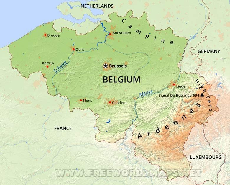 physical map belgium
