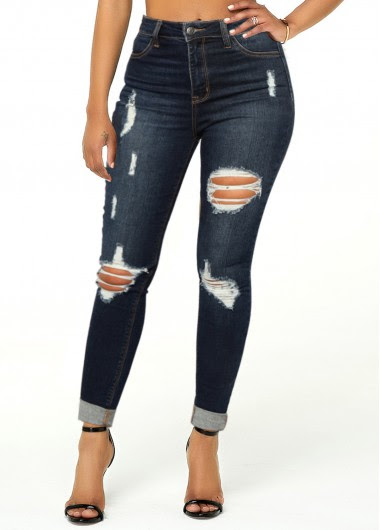 ROTITA Roll Hem Pocket Mid Waist Shredded Jeans