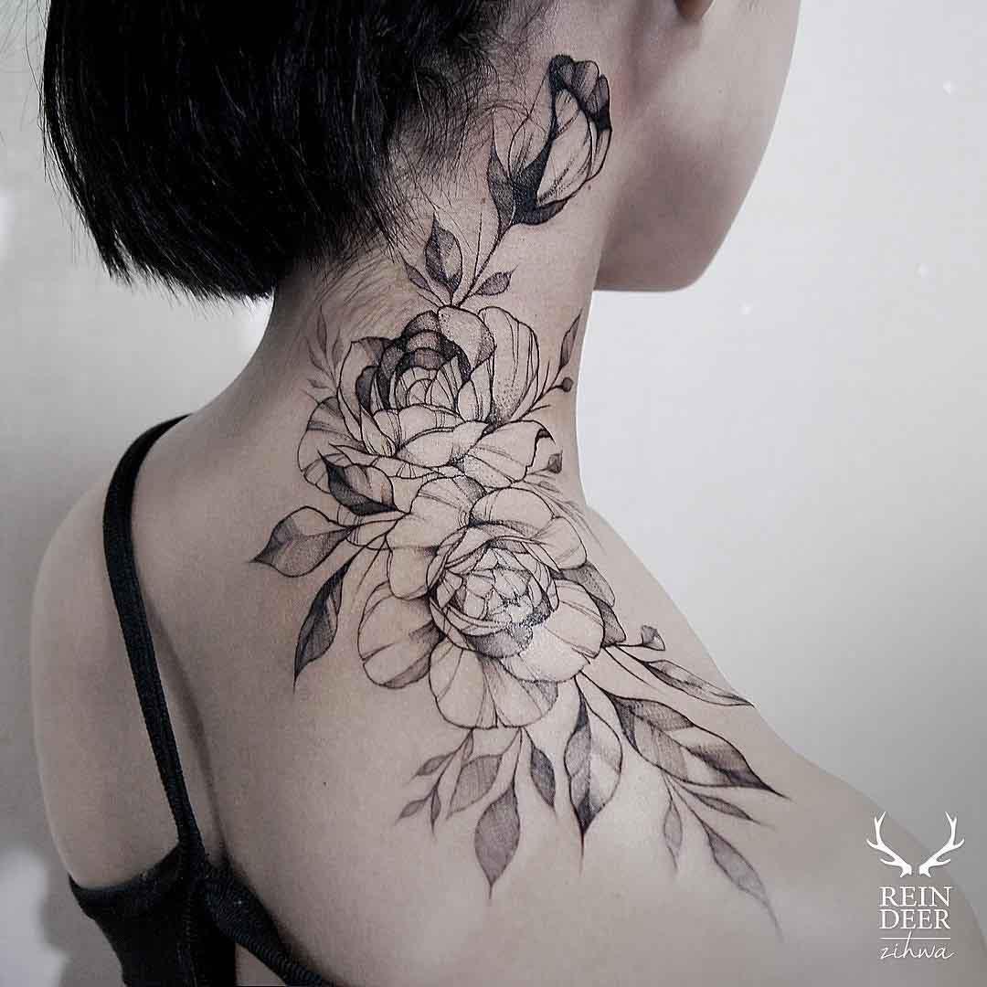 Rose Tattoo On Neck Best Tattoo Ideas Gallery