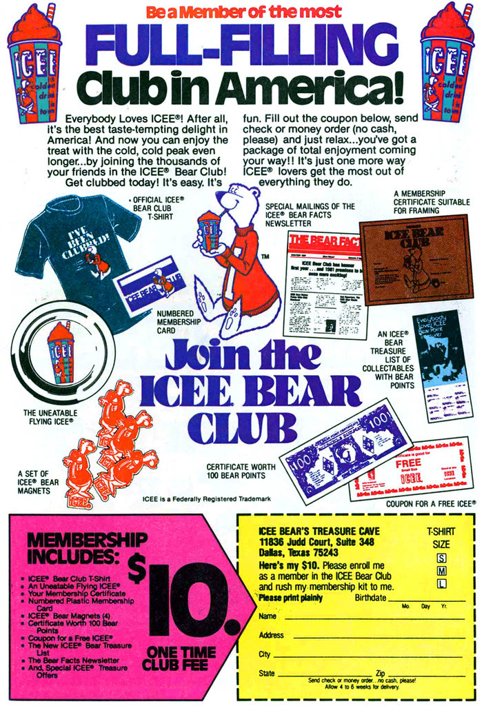 ICEE club membership mail order offer slurpee frozen drink