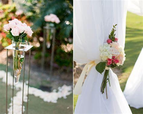 Romantic outdoor wedding ceremony decor, ivory and pink