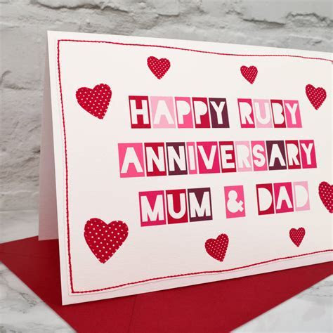 'mum and dad' 40th ruby anniversary card by jenny arnott