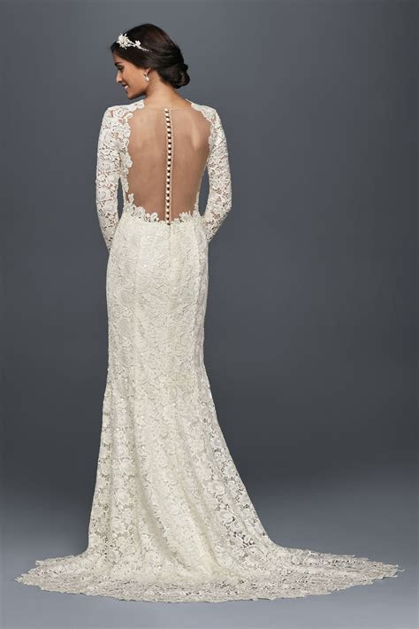 Long Sleeve Petite Wedding Dress with Open Back Style