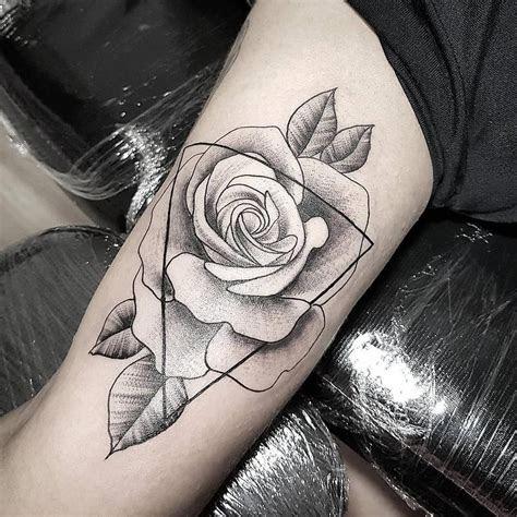 black gray geometric rose tattoo tattoo artist