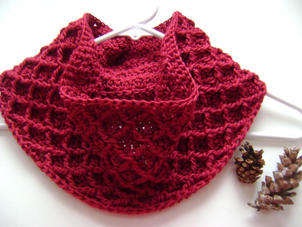 crochet libre bufanda cables diamantes patrón capucha de invierno