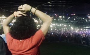 Turning on the lights at the Woodstock 50 celebration.