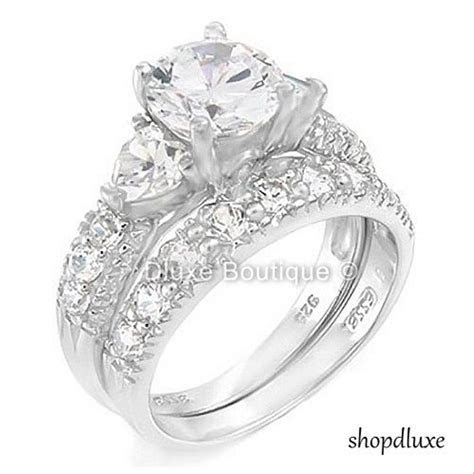 4.05 Ct Three Stone Sterling Silver Wedding Engagement