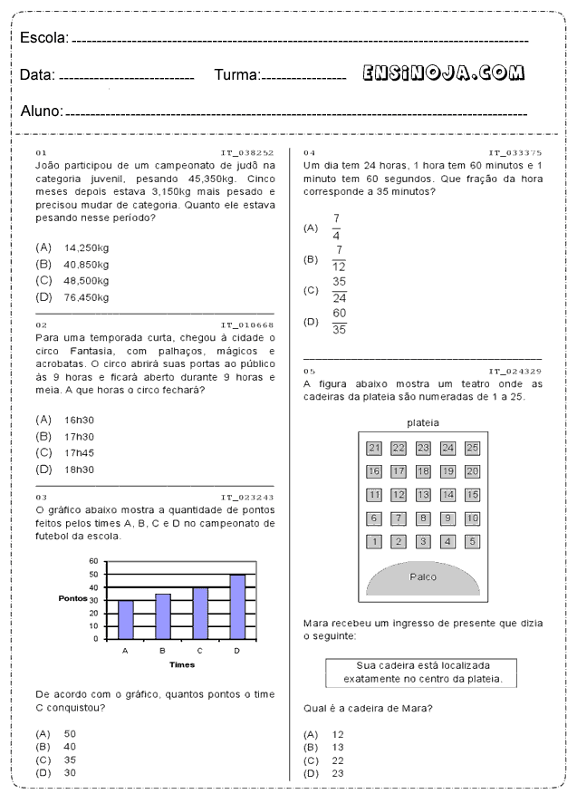 Atividades De Matematica 4 Ano Para Imprimir Ensino Ja