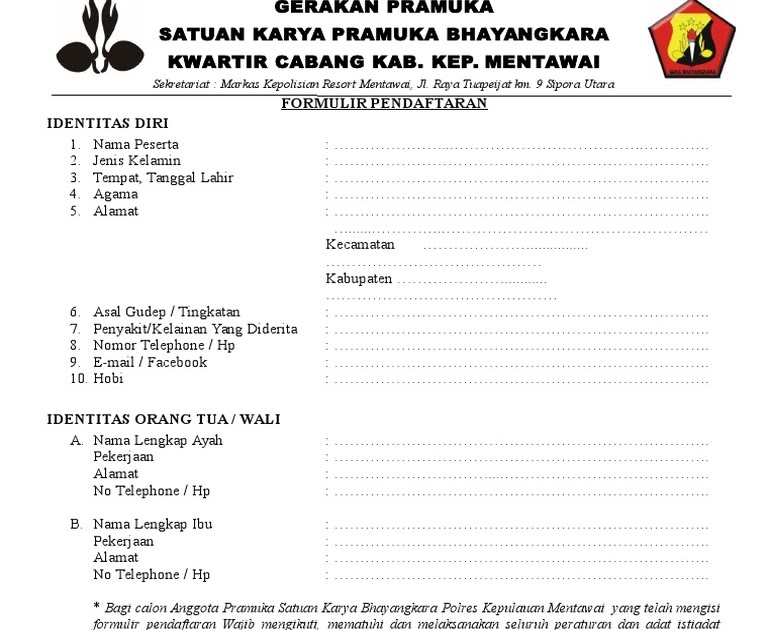 Download Contoh Formulir Anggota Pramuka Populer ...