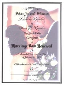 'Couples Portrait' Marriage Vow Renewal Certificate