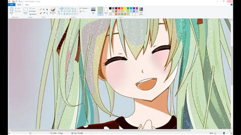 computer drawing anime girl  ms paint  mouse