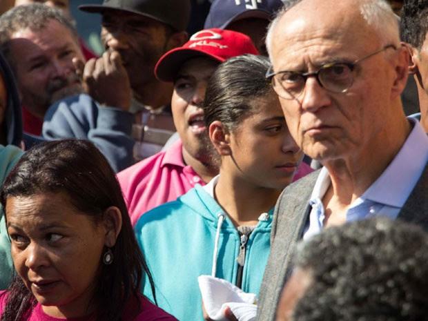 duardo Suplicy durante reintegração de posse na Cidade Educandário, na região da Raposo Tavares, em São Paulo (SP), nesta segunda-feira (Foto: Uriel Punk/Futura Press/Estadão Conteúdo)