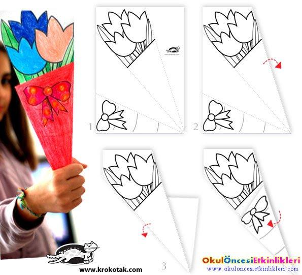 Anneler Günü Için Kağıttan çiçek Buketi Yapalım Okul öncesi
