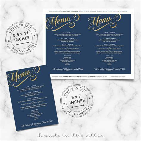 Navy Blue and Gold Wedding Menu Template   Reception Menu