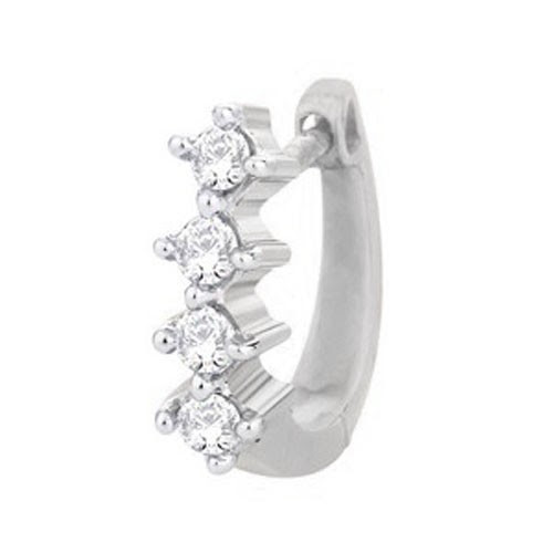 Diamond Nose Ring 015ct Round Shape Natural Solid White Gold