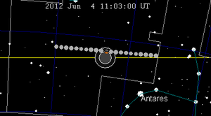 English: June 2012 lunar eclipse chart of moon...