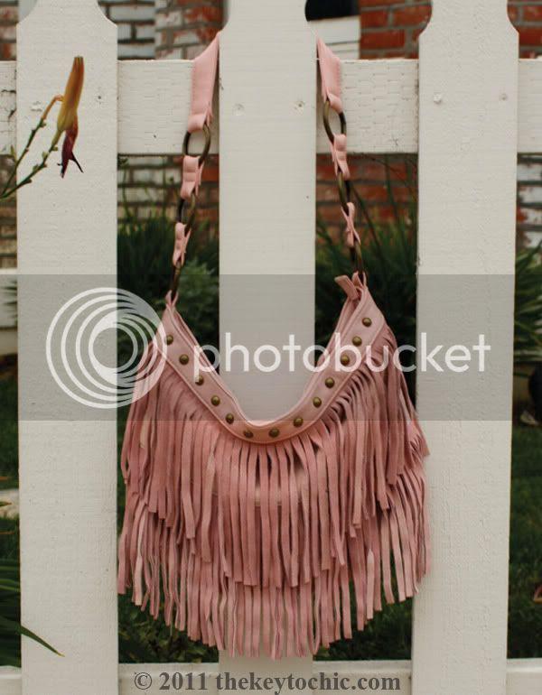 pink suede fringe handbag