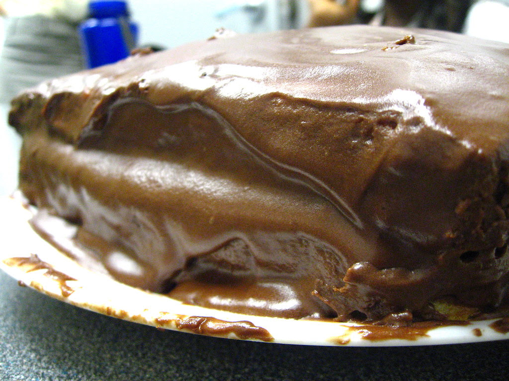 Chocolate malt frosted cake